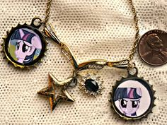 Steampunk My Little Pony Friendship is Magic Twilight Sparkle Gold Colored Charm Necklace