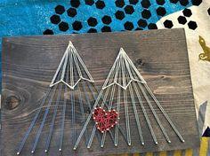 Mountain String Art, Double Peak Mountain Love (medium)