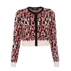 Paule Ka Red, Pink, And Black Tweed Print Knit Cardigan (€435) ❤ liked on Polyvore featuring tops, cardigans, knit top, long sleeve knit tops, red knit cardigan, pink knit cardigan and pink cardigan