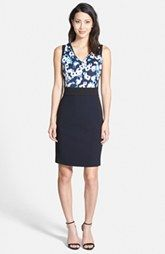 Ellen Tracy Mixed Media Sheath Dress (Regular & Petite)