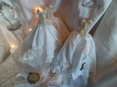 Assemblage Art * Gown Style Mini Dresses Made From Paper and Fabric.