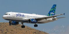 JetBlue's N537JT, an A320 and the first aircraft in JBU's fleet to feature the