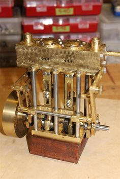 This is a modified steam engine design (added reversing linkages) by Gary K is based on January 1953 Popular Science magazine article.