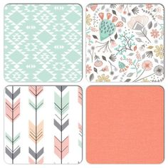 Crib Bedding Set Customized Pieces / crib bumper/ crib sheet/ crib skirt/ desert floral coral mint gray