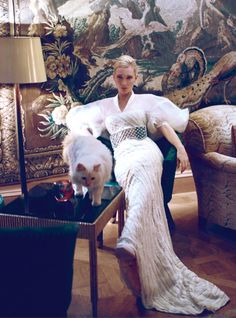 #CelebCats#FamousCats|#Cate Blanchett with beautiful white cat, by Koray Birand for Harper's Bazaar China November 2013
