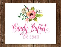 Candy Buffet Sign 5x7 8x10 11x14 Spring by NatalieDesignStudio