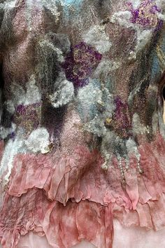 Textiles Surfaces - nuno felted fabric with floral pattern & texture detail - fused fibers; decorative textile techniques