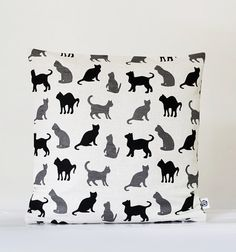 Linen pillow cover - decorative covers - sham - throw pillows - black cat walking - 16x16. $18.00, via Etsy.