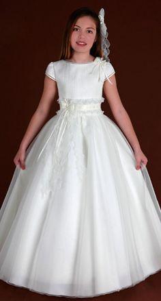 Charming SheathColumn #Jewel Short Sleeve Beading SashesRibbons Floorlength Satin Tulle #FlowerGirl Dresses