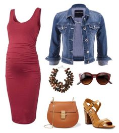 """""""Maternity dress with wood tone accessories"""" by theslw ❤ liked on Polyvore featuring maurices, Frye, Chloé, NEST Jewelry, maternity and isabellaoliver"""