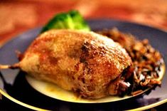 Roast wild duck recipe, especially teal, stuffed with rosemary, onion, apple, cloves, with a sauce of drippings, dry sherry and cream.