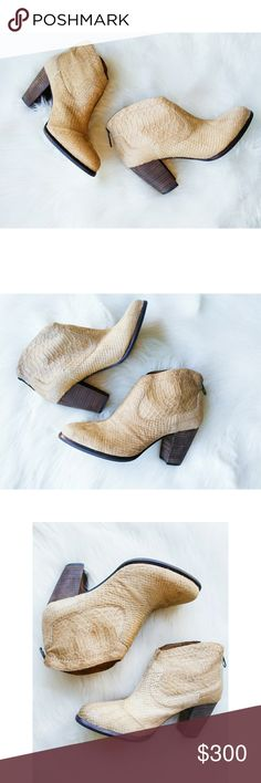 """UGG AUSTRALIA Charlotte Snake Moon Ankle Booties UGG AUSTRALIA Charlotte Snake in Moonbeam Ankle Booties  Women's size 8, regular. True to size.  -Round toe - Genuine calf hair with snake embossed detail - Back zip closure - Stacked heel - Approx. 3.75"""" shaft height, 11.5"""" opening circumference - Approx. 3.5"""" heel -Leather/calf hair upper -Sock front lining & shaft lining: 100% wool -Lightly cushioned footbed -Sock front lining & shaft lining back: polyester UGG Shoes Ankle Boots & Booties"""