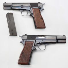 Browning Hi-Power Pistol - Browning's last handgun design was this semi-automatic masterpiece & was used by both sides in WWII & is still in issue around the globe. While the M1911 & other Browning-designed handguns up to this point had featured a single column magazine, the GOTD incorporated a double-stack magazine that could hold 13 cartridges. The handgun was manufactured by Fabrique Nationale in Belgium. NRA National Firearms Museum in Fairfax, VA.