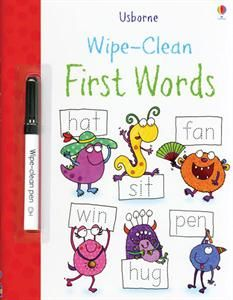 Usborne Books & More. Wipe-Clean First Words This durable, wipe-clean book allows children to trace over the dotted letter-shapes again and again, helping them to develop important pen-control skills and practice letter formation skills. Will help with reading and literacy skills as well as letter formation. Comes with a special wipe-clean pen which is really satisfying to write with, yet easy to wipe off the shiny pages.