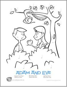 Adam and Eve - Free Color-by-Note Rhythm Worksheet Sunday School Activities, Sunday School Lessons, Sunday School Crafts, Bible Coloring Pages, Printable Coloring Pages, Coloring Pages For Kids, Free Coloring, Preschool Bible, Bible Activities