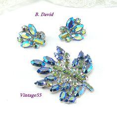 Vintage B. David Maple Leaf Brooch Earrings clip on by Vintage55, $78.00