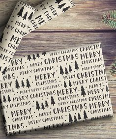Black & White 'Merry Christmas' Wrapping Paper