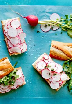"""Steven Satterfield, the chef at Miller Union in Atlanta, included this very French picnic recipe in his cookbook, """"Root to Leaf."""" As he points out, the key is to use a lot of butter, a lot of radishes and plenty of salt. The recipe yields four sturdy desk- or school-lunch sandwiches, or you can divide them further, into a dozen little bites for hors d'oeuvres. (Photo: Rikki Snyder for The New York Times)"""