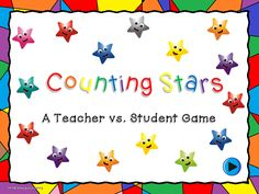 This game is awesome for reviewing counting. Students count the star to find the total number of stars.  Students can count and the slide won't move . Perfect for those hands on counters. There are 20 questions in all. Animated with questions buttons that disappear after clicking on it. Fun for the whole class or one-on-one.