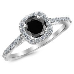 2.35 Carat 14K White Gold Gorgeous Classic Cushion Halo Style Diamond Engagement Ring 14K White Gold with a 2 Carat Round Cut AAA Quality Black Diamond (Heirloom Quality)