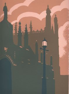 Evening, Kings College, Cambridge Screenprint by Ian Scott Massie King's College, Linoprint, Elements Of Art, Paintings For Sale, Retro, Creative Art, Art Lessons, Printmaking, Watercolor Art