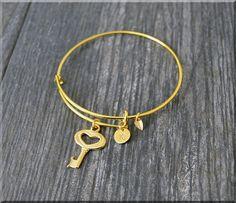 Gold Key Charm Expandable Bangle Bracelet by charmingpixiejewelry