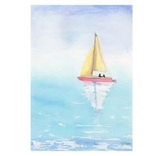 Original watercolor Painting Sailing boat by MilkFoam on Etsy, $50.00