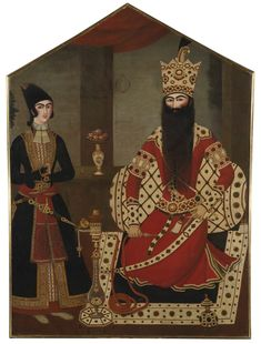 A MAGNIFICENT QAJAR ROYAL PORTRAIT OF FATH 'ALI SHAH ATTENDED BY A PRINCE, ATTRIBUTED TO MIHR 'ALI, PERSIA, CIRCA 1820