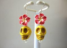 Day Of The Dead Earrings Sugar Skull Dangle by sweetie2sweetie