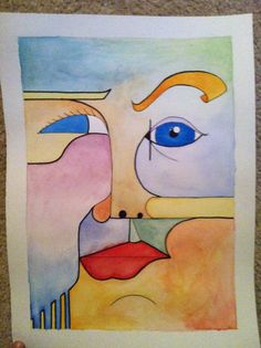 Items similar to Original Cubism Portrait in Water Color on Etsy Abstract Art Images, Different Art Styles, Inspirational Artwork, Cubism, New Art, Art Inspo, Art News, Sketches, Portrait Ideas
