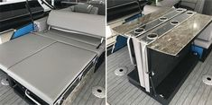 Pontoon Boat Bar Table & Furniture Ideas + How to Create Your Own Pontoon Accessories, Camping Accessories, Table Furniture, Furniture Ideas, Pontoon Boat Furniture, Pontoon Boat Party, Pontoon Seats, Build Your Own Bar, Boat Table