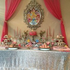 Dessert table at a Disney Princess birthday party! See more party ideas at… Princess Birthday Party Decorations, Disney Princess Birthday Party, Princess Theme Party, Baby Shower Princess, Party Table Decorations, Tea Party Birthday, 4th Birthday Parties, Decoration Table, 50 Party