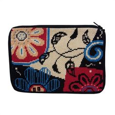 Needlepoint Stitch & Zip Cosmetic Purse - Modern Collage