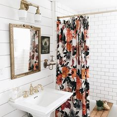 Currently inspired by the shower curtain and bathroom design of this charming Airbnb Colorful, patterned shower curtain / subway tiles / shiplap / gold fixtures Bad Inspiration, Bathroom Inspiration, Spiritual Inspiration, Writing Inspiration, Motivation Inspiration, Creative Inspiration, Character Inspiration, Travel Inspiration, Fashion Inspiration