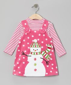 Take a look at this Pink Fleece Snowman Top & Fleece Jumper - Infant, Toddler & Girls on zulily today!