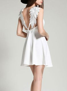 Mini Sundress - White / Feathered Backless Detail