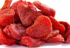 Strawberries dried in the oven--they taste like candy but are healthy & natural. 3 hrs at 210 degrees.