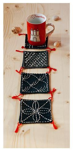Black cotton sashiko coasters set of 4, traditional japanese embroidery, tribal…