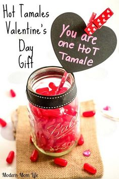 Best Mason Jar Valentine Crafts - Hot Tamales Valentine's Day Treat - Cute Mason Jar Valentines Day Gifts and Crafts   Easy DIY Ideas for Valentines Day for Homemade Gift Giving and Room Decor   Creative Home Decor and Craft Projects for Teens, Teenagers, Kids and Adults http://diyprojectsforteens.com/mason-jar-valentine-crafts