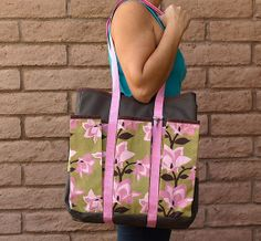 Tote Wine Shopping or Diaper bag PINK LILIES by ChellaBellaDesigns, $50.00 https://www.etsy.com/listing/90782886/tote-wine-shopping-or-diaper-bag-pink