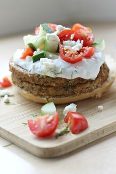 Open-Faced Mediterranean Chickpea Burger. So refreshing and delicious!