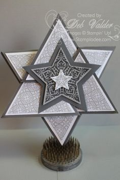 Stampladee.com (Deb Valder): Origami Triangle Star Card: Bright & Beautiful stamp set: Star Framelit Dies: All Is Calm DSP: Christmas Holiday Fun Fold Card