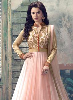 Pink Net Anarkali Suit