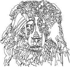Plain Outline of Lion Illustration