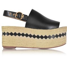 Tory Burch Shoes Dandy Black Veg Leather Wedge Espadrille Sandal ($210) ❤ liked on Polyvore featuring shoes, sandals, platform sandals, black wedge sandals, beach sandals, ankle strap wedge sandals and wedge sandals