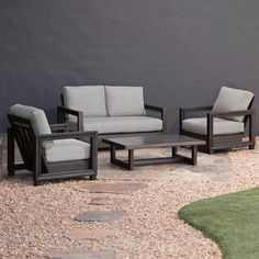 royal russell outdoor 4 piece seating set with loveseat lounge chairs coffee table and grey cushions aluminum frame brown size 4 piece sets patio
