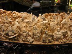 Ancient Woolly Mammoth Tusk Carving in Las Vegas Chinese Ceramics, Las Vegas, Lion Sculpture, Carving, Ivory, Food, Art, Art Background, Last Vegas