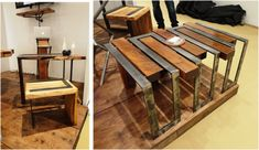 Wood and metal combine to create industrial looking furniture.