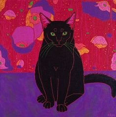 """Black Cat Art - Black Cat Print - Matisse Inspired MATTED Print- Pop Art Cat - by Angela Bond. """"Fluffy, Not Fat"""" This is a limited edition MATTED print of one of my pop art paintings. Angela Bond @ 2010 The title for this piece came from a comedian who always refers to himself as, """"fluffy, not fat"""". mat size - 11"""" X 14"""" (standard sized white mat) print size 7"""" X 7"""" high quality print using Epson heavy weight matte paper signed, titled and numbered **This print is already MATTED, so it is..."""