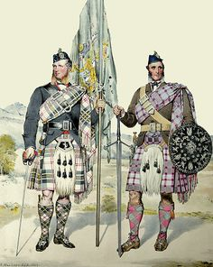 Lachlan McPherson and Ewan McPherson as depicted in watercolour by Kenneth MacLeay RSA and published in the work, The Highlanders of Scotland.